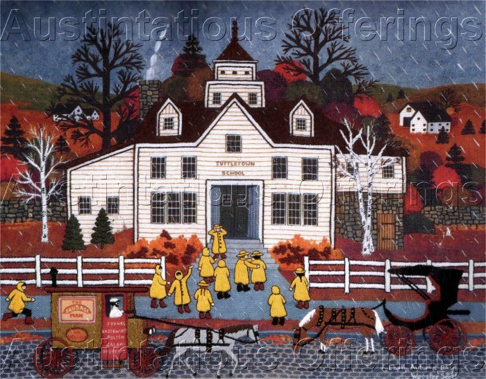 HARD TO FIND WOOSTER SCOTT CREWEL EMBROIDERY KIT TUTTLETOWN AUTUMN RAIN