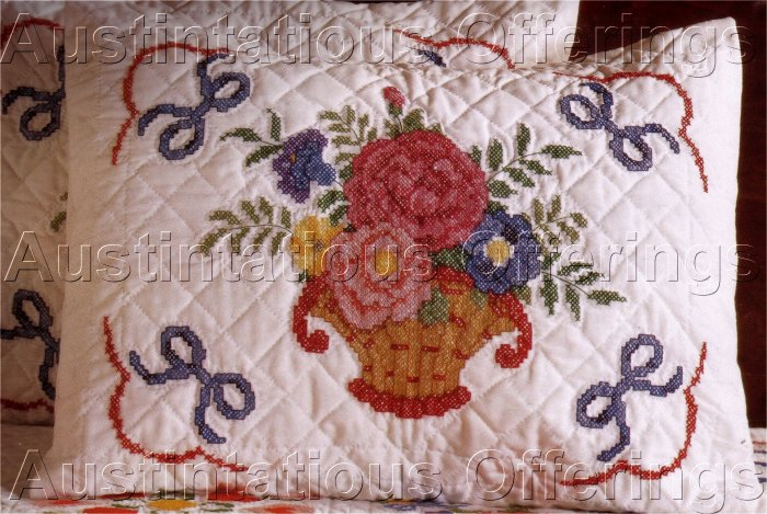 STAMPED CROSS STITCH  BALTIMORE ALBUM STYLE PILLOW SHAMS SET