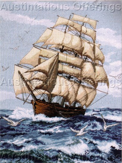 DAWSON MARITIME SAILING SHIP NEEDLEPOINT KIT NAUTICAL