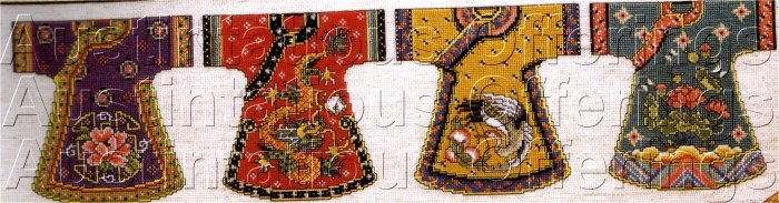 JOAN ELLIOT ORIENTAL BEADED CROSS STITCH KIT ASIAN KIMONOS