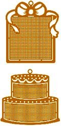 HARD TO FIND BRASS STITCHABLES CROSS STITCH ORNAMENTS W/ CHART CELEBRATIONS
