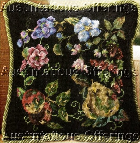 PORTER PEARS PLUMSBERRIES FLORAL NEEDLEPOINT PILLOW KIT