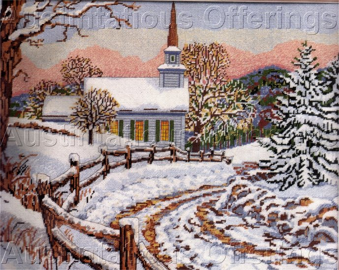 RARE JOHN SLOANE NEEDLEPOINT KIT WINTER HOLIDAY CHURCH CHRISTMAS SILENT NIGHT