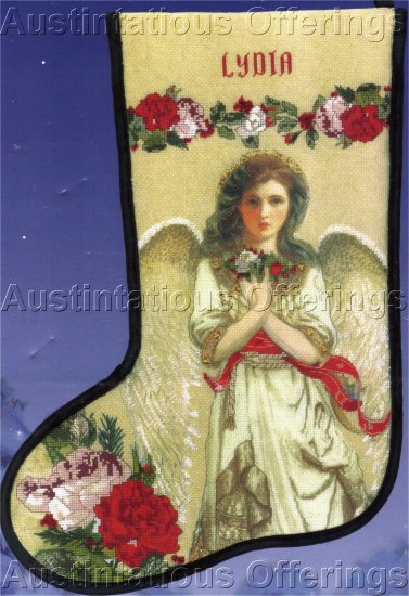 RENAISSANCE ANGEL EMBELLISHED CROSS STITCH KIT TIDINGS OF JOY STOCKING