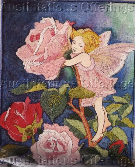 RARE CM BARKER FLOWER FAIRY CREWEL EMBROIDERY KIT ROSE