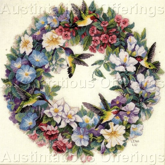 LENA LIU GOLD COLLECTION HUMMINGBIRD CROSS STITCH KIT SUMMER FLORAL WREATH
