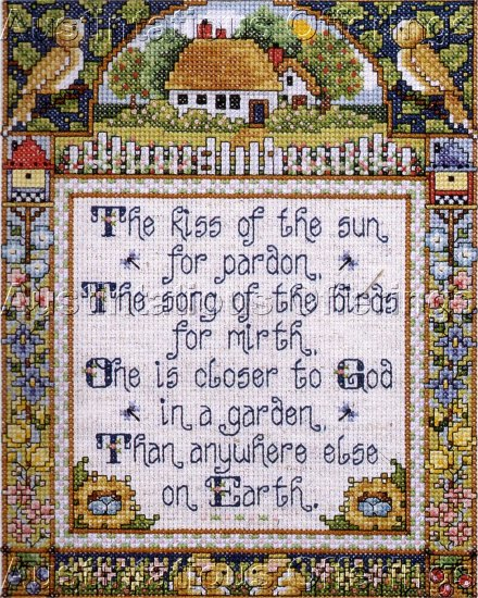 HARD TO FIND ELLIOT SAMPLER CROSS STITCH KIT IN A GARDEN