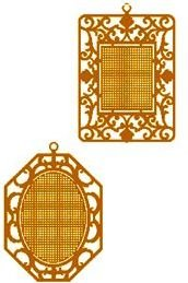 HARD TO FIND BRASS STITCHABLES CROSS STITCH ORNAMENTS W/ CHART EXPRESSIONS