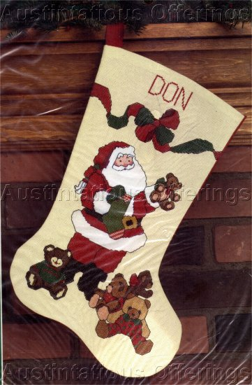 Santa and Teddy Bears at Christmas  Cross Stitch Stocking Kit Suitable for beginners