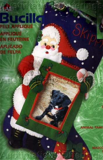 SANTA FELT APPLIQUE EMBROIDERY CHRISTMAS STOCKING KIT MY FAVORITE