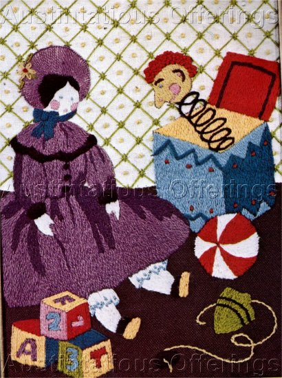 VICTORIAN DOLL CREWEL EMBROIDERY KIT JACK IN BOX TOYS