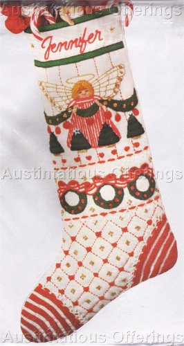 RARE GLADSTONE CHRISTMAS CREWEL EMBROIDERY STOCKING KIT