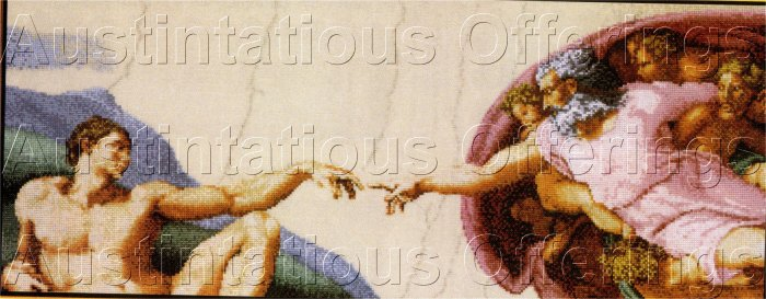 FINE ART REPRODUCTION MICHAELANGELO CROSS STITCH KIT CREATION OF ADAM