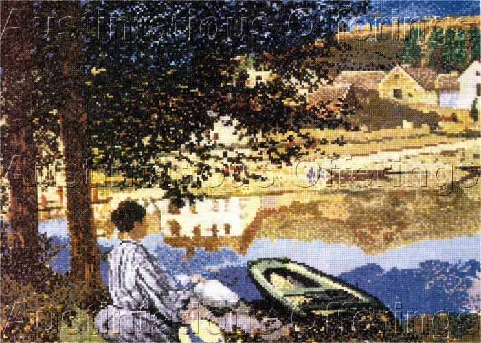 FINE ART MONET REPRODUCTION CROSS STITCH KIT THE RIVER