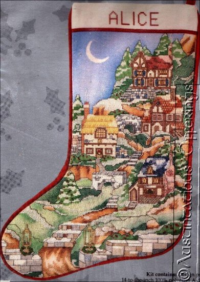 RARE ALICE SCOTT HOLIDAY VILLAGE CROSS STITCH CHRISTMAS STOCKING KIT