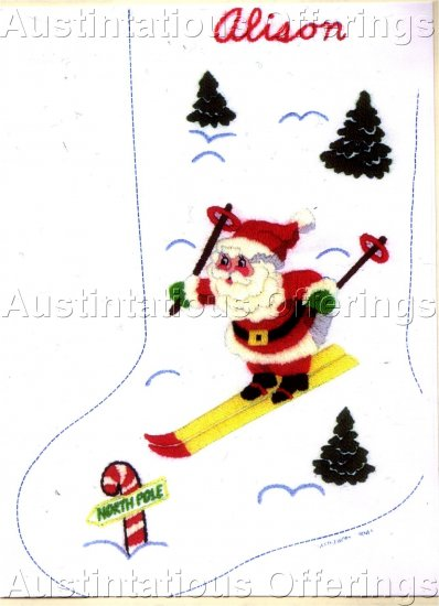 CHRISTMAS DOWNHILL SKIIER SANTA CREWEL EMBROIDERY STOCKING KIT