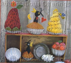 PRIMITIVE FOLK ART PATTERN CHART TART PAN PINCUSHIONS FELT EMBROIDERY