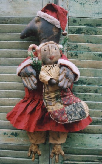 PRIMITIVE FOLK ART DOLL PATTERN CHART  THE CHRISTMAS CROW