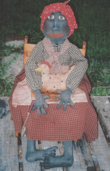 PRIMITIVE BLACK  MAMMY  DOLL FOLK ART PATTERN CHART GERALDINE'S HEN