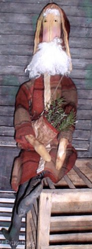 PRIMITIVE CHRISTMAS FOLK ART DOLL PATTERN CHART BACKWOODS SANTA