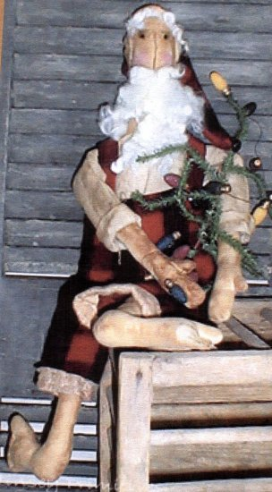 PRIMITIVE CHRISTMAS FOLK ART DOLL PATTERN CHART WOODSMAN SANTA