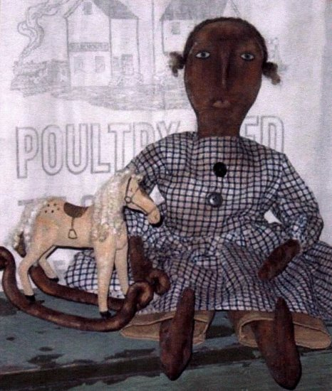 PRIMITIVE BLACK FOLK ART DOLL PATTERN CHART HANNAH'S GIFT