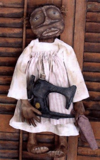 PRIMITIVE BLACK FOLK ART DOLL PATTERN CHART MILLIE JEAN'S SEWING MACHINE