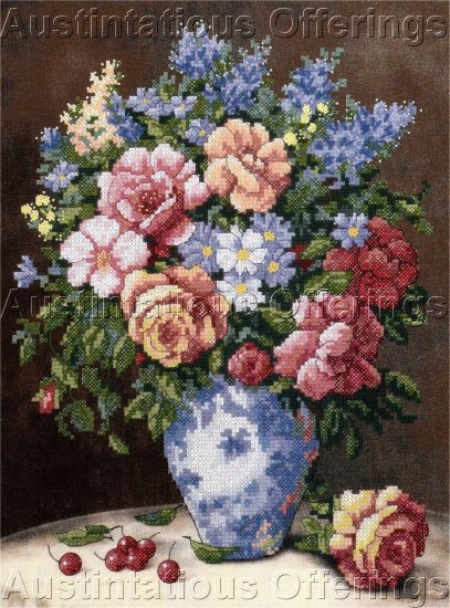 ELEGANT FLORAL ROSE BOUQUET STAMPED CROSS STITCH KIT