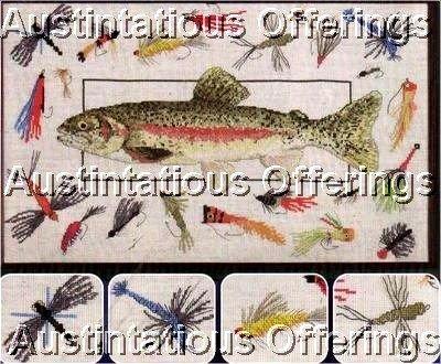 RARE FLY FISHING CROSS STITCH KIT RAINBOW TROUT & FLIES