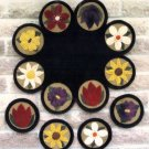 PRIMITIVE FOLK ART PATTERN CHART  FLOWER GARDEN MINI PENNIES & TABLE MAT FELT EMBROIDERY