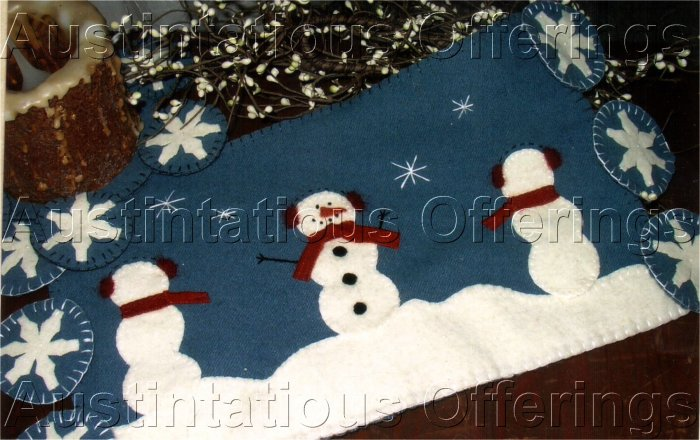 PRIMITIVE FOLK ART FELT EMBROIDERY CHRISTMAS PATTERN CHART  SNOWMEN