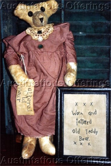 PRIMITIVE FOLK ART DOLL PATTERN CHART TATTERED OLD TEDDY  BEAR