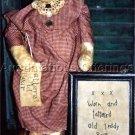 PRIMITIVE FOLK ART DOLL PATTERN CHART TATTERED OLD TEDDY  BEAR