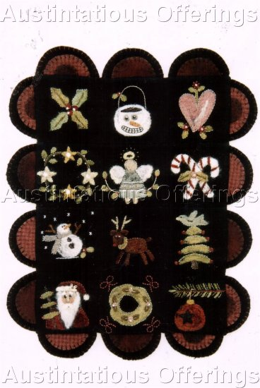 PRIMITIVE FOLK ART NEEDLE FELTING PATTERN CHART  CHRISTMAS SAMPLER