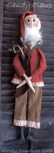 PRIMITIVE CHRISTMAS FOLK ART DOLL PATTERN CHART CANDY CLAUS