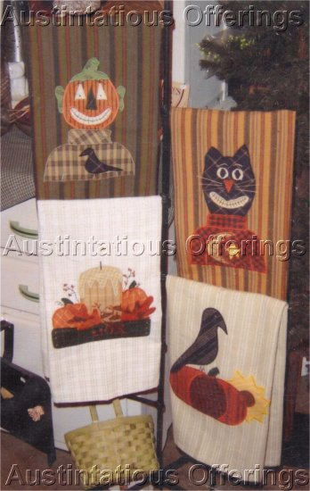 PRIMITIVE FOLK ART HALLOWEEN FALL HARVEST PATTERN GUEST TOWELS APPLIQUE