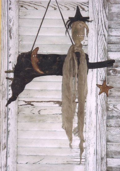 PRIMITIVE FOLK ART DOLL PATTERN NIGHT FLIGHT WITCH HALLOWEEN