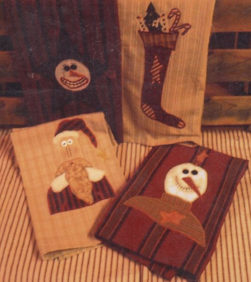 PRIMITIVE FOLK ART PATTERN CHRISTMAS  HOLIDAY GUEST TOWELS APPLIQUE