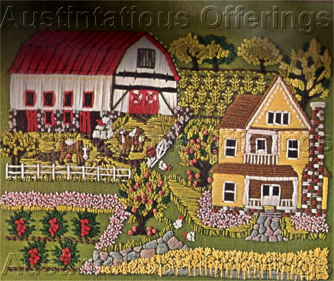 RARE SPRING FARM FOLK ART CREWEL EMBROIDERY KIT