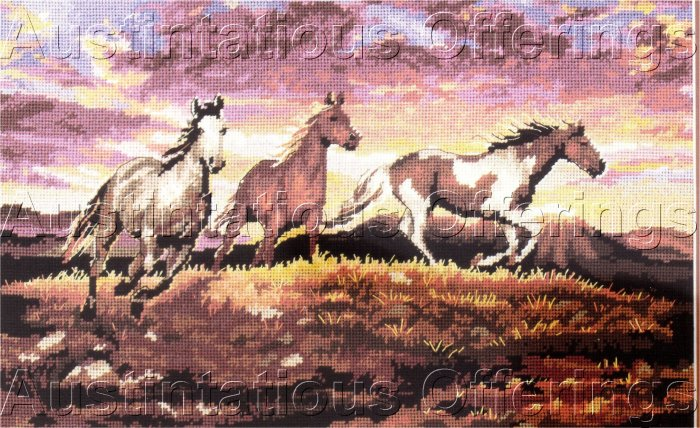 EQUINE INTEREST NEEDLEPOINT KIT THUNDERING SUNSET HORSE TRIO