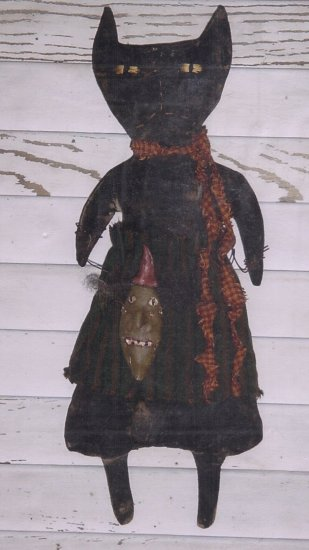 PRIMITIVE FOLKART DOLL PATTERN HALLOWEEN WITH WITH CAT HEAD