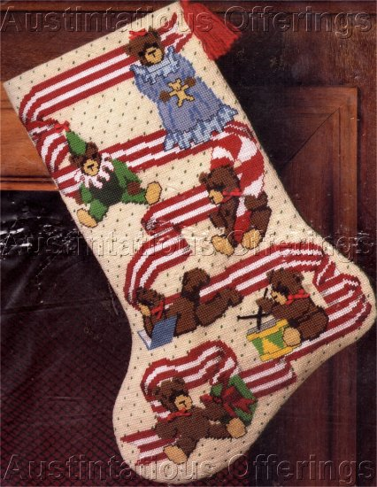 RARE CHRISTMAS TEDDIES AT PLAY NEEDLEPOINT STOCKING KIT HOLIDAY RIBBON