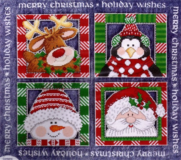 HOLIDAY WISHES DOOR GREETING CROSS STITCH KIT FELT BANNER