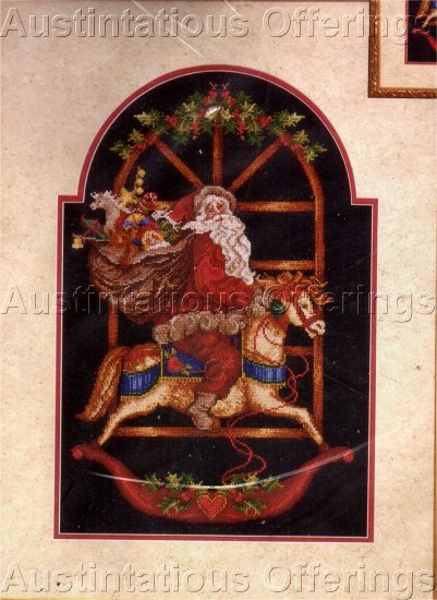 RARE GIAMPA HOLIDAY CROSS STITCH KIT ROCKING HORSE VINTAGE POSTCARD STYLE SANTA CHRISTMAS
