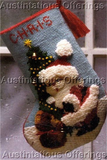RARE MOREHEAD TEXTURED NEEDLEPOINT CHRISTMAS STOCKING KIT 10 MESH