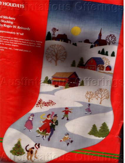 RARE ROGER W. REINARDYEMBROIDERY KIT HOLIDAY STOCKING ICE SKATING