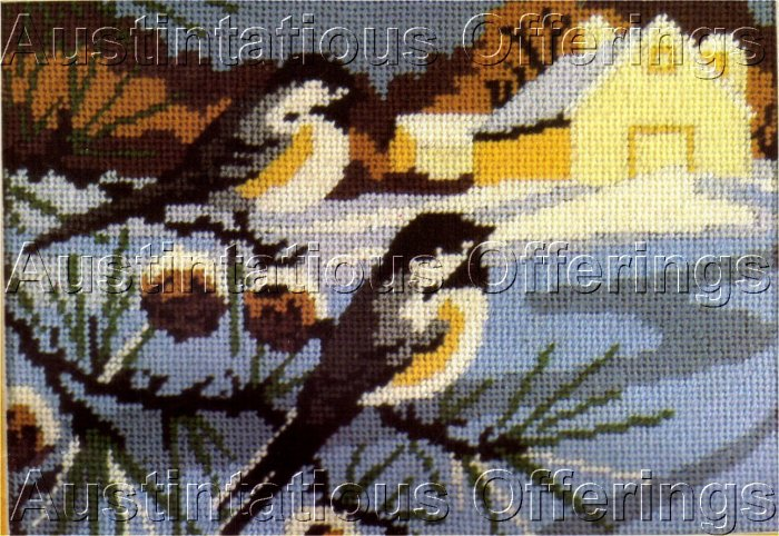 RARE REINARDY WINTER FARM MINIATURE NEEDLEPOINT KIT CHICKADEES PINE