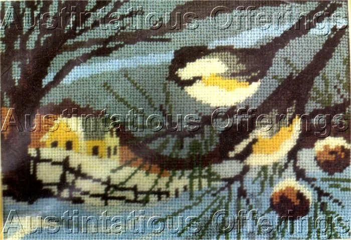 RARE REINARDY WINTER BARN  MINIATURE NEEDLEPOINT KIT CHICKADEES PINE