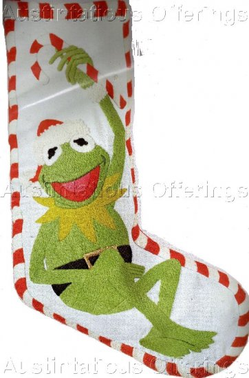 RARE KERMIT FROG CREWEL EMBROIDERY CHRISTMAS STOCKING KIT