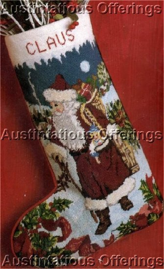 RARE VICTORIAN WOODLAND SANTA TOYS AND TREE NEEDLEPOINT STOCKING KIT